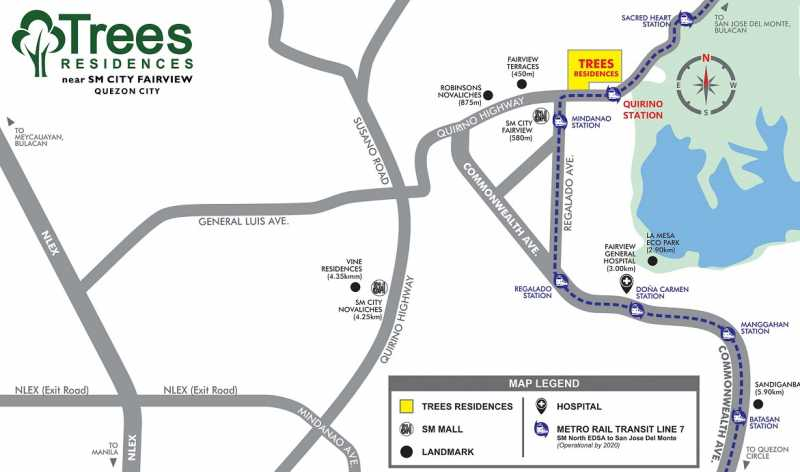 QC 2 BR unit with parking for sale near SM Fairview at Trees Residences
